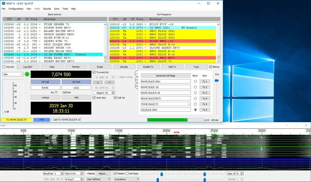 FT8 screenshot